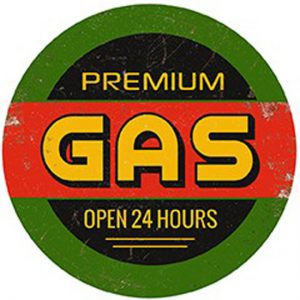 Round Vintage Gas Sign. Wall Art for the Garage