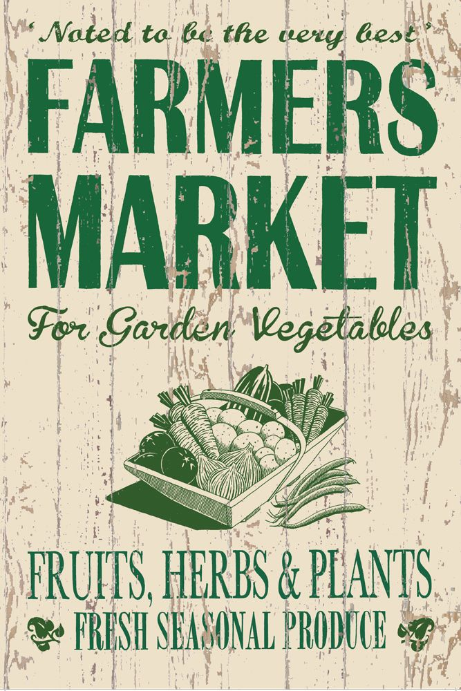 Metal Wall Signs farmers market - metal wall sign 3 sizes