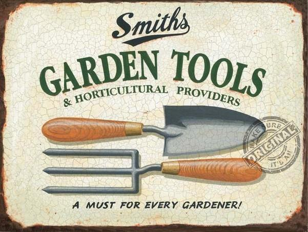 Smiths garden tools metal wall sign 3 sizes for Gardening tools vintage