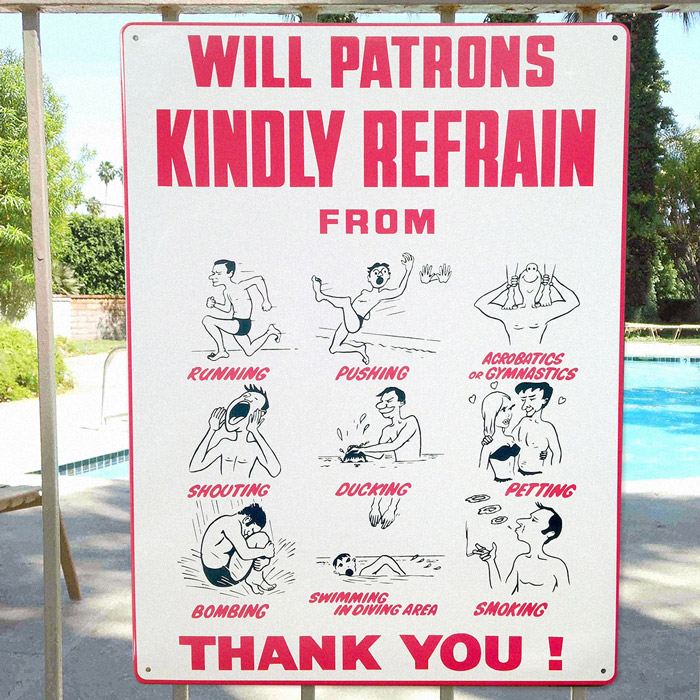 swimming pool safety metal wall sign
