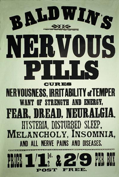 Baldwins Nervous Pills A5 Metal Wall Sign