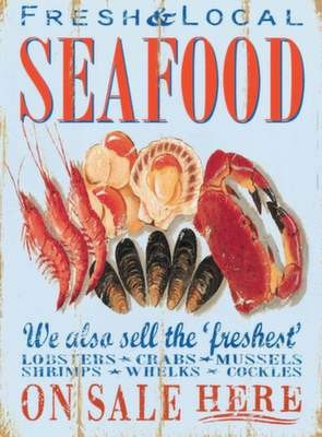 Seafood -  Metal Wall Sign (3 sizes)