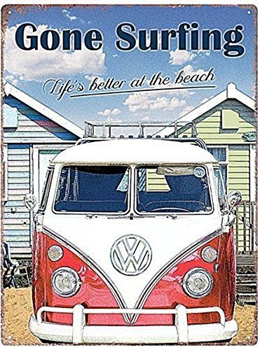 VW Camper - Gone Surfing - Metal Wall Sign