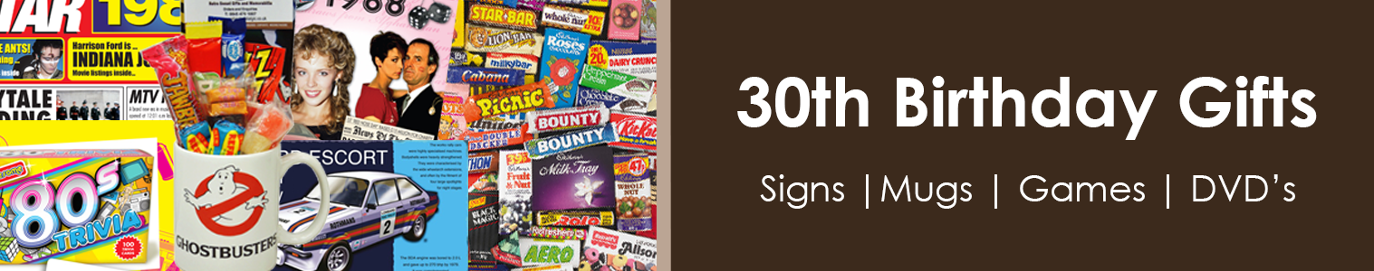 30th Birthday Gift Ideas. Unique 1980's Gifts for friends and family.