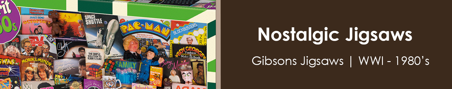 Gibsons Jigsaw Puzzles from Sweet and Nostalgic. World War One through to the 1980's. Settle down and challenge yourself with these Great 1000 piece Jigsaws.
