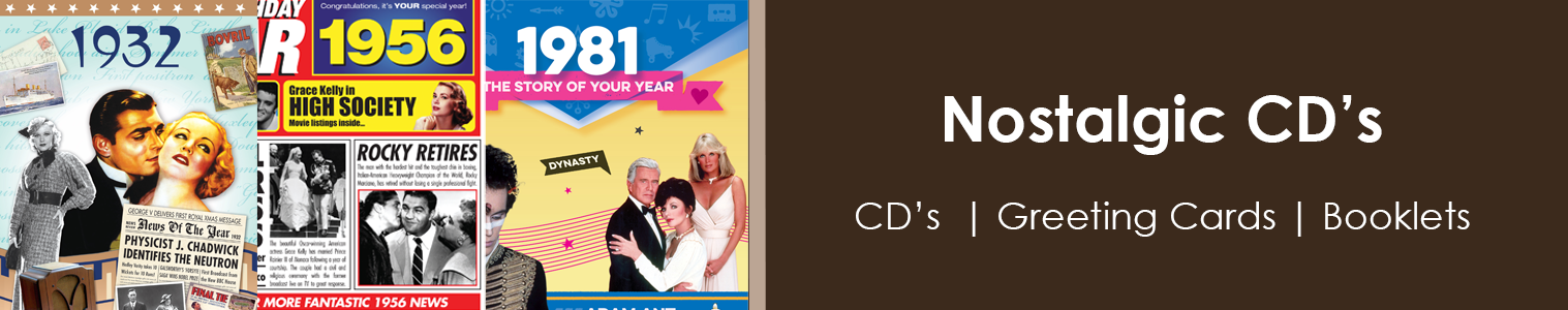 Boxset CD's | Greeting Cards with CD's | CD's with booklets. Great selection of Nostalgic Music and information form the 20th Century