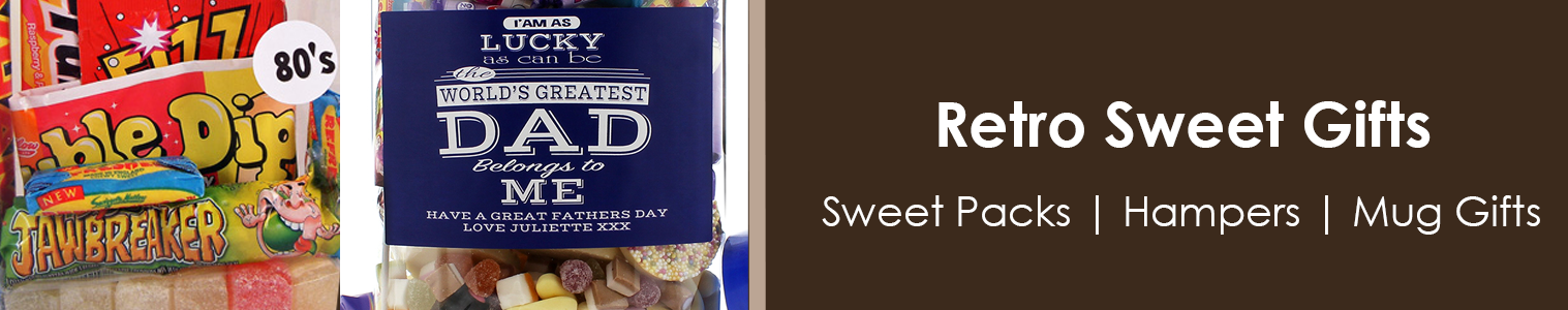 Retro Sweet Gifts from Sweet and Nostalgic. Retro sweet packs, Sweet hampers and Mug Gift Sets.