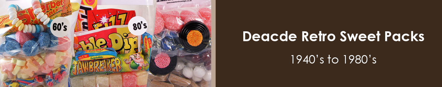 Decade Retro Sweet Packs exclusively from Sweet and Nostalgic - 1940's - 1980's